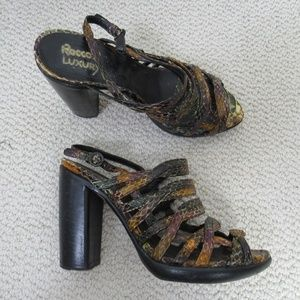 Rocco P Shoes Heels Womens 37 Snakeskin